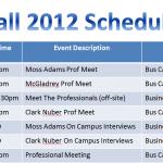 UWBBAP Schedule